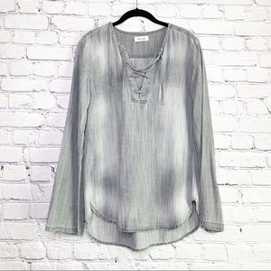 Bella Dahl | Grey Chambray Lace Up Bell Sleeve Top